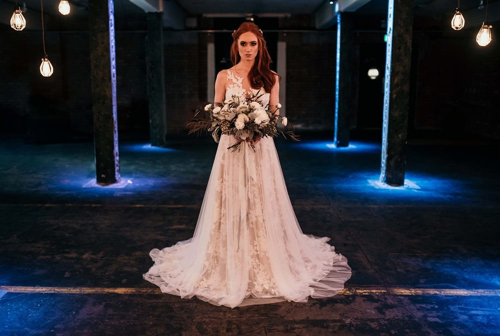 city bride in a lace dress